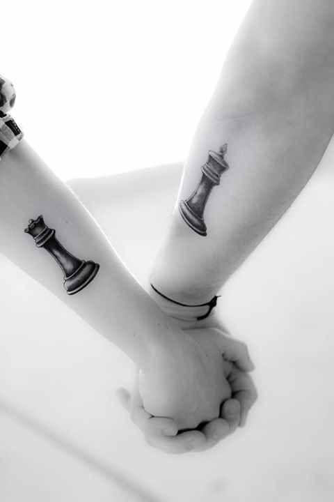Couple tattoo: chess