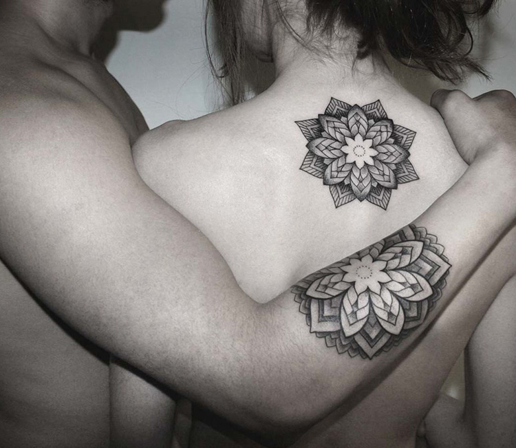 Couple tattoo: dotwork