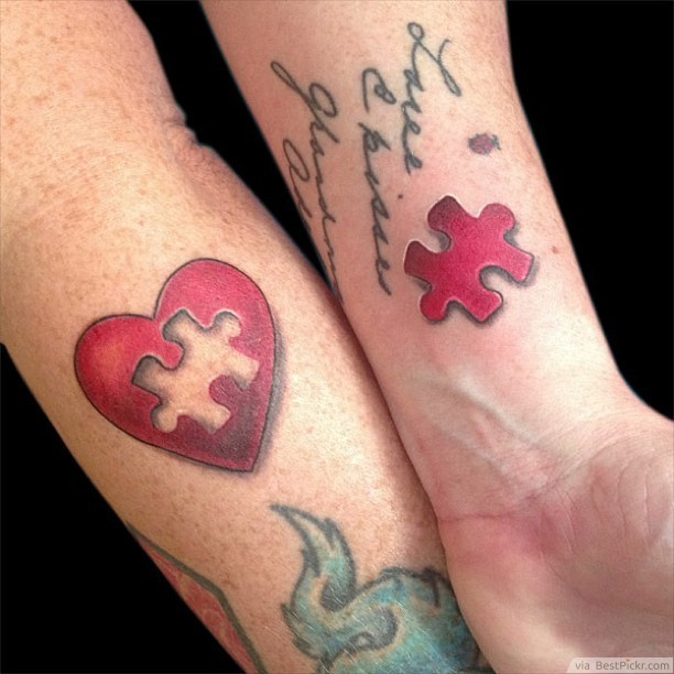 Couple tattoo: puzzle