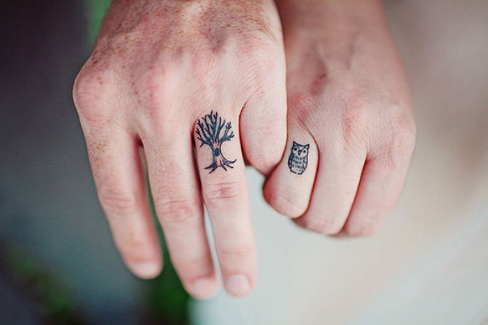 Couple tattoo: tree owl