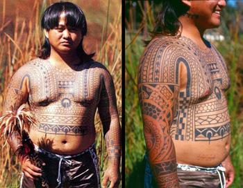 Tatuagem Kalinga feita a mão