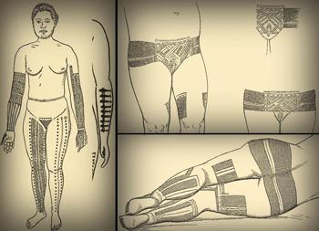 Tatuagens micronésias feitas a mão