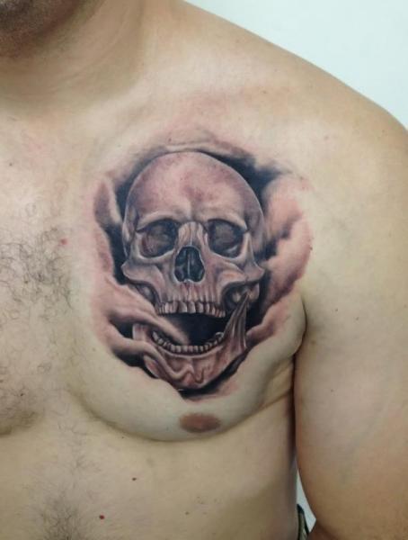 Realistic Chest Skull Tattoo by Tattoo Shimizu