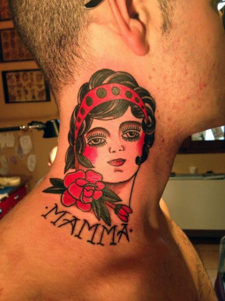 Old school women neck tattoo by adrenaline vancity
