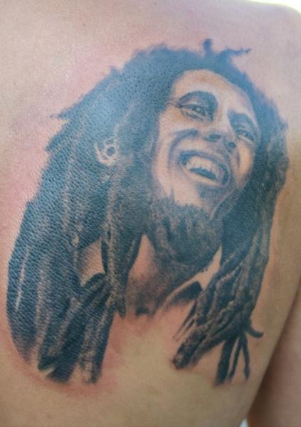 Portrait realistic back bob marley tattoo by 46 and 2 tattoo for Bob marley tattoos