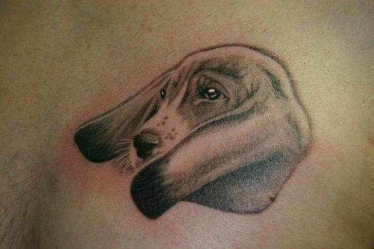 realistic dog tattoo by 46 and 2 tattoo