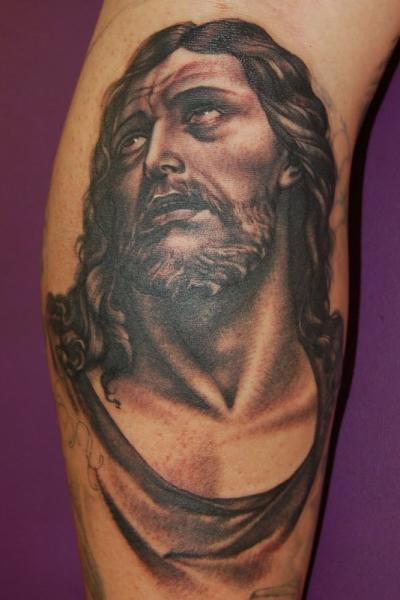 Arm jesus tattoo by adam barton for Jesus tattoos on arm