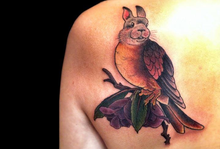 Fantasy Chest Rabbit Bird Tattoo by Artwork Rebels