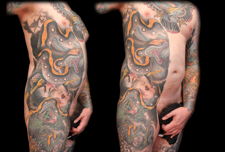 tatouage serpent c t japonais par artwork rebels. Black Bedroom Furniture Sets. Home Design Ideas