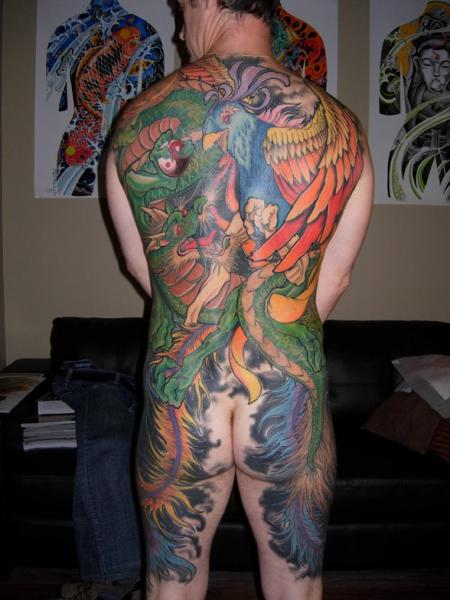 Japanese Peacock Back Dragon Tattoo by Burning Monk Tattoo