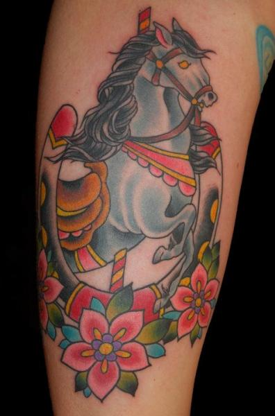 New School Horse Tattoo: Tatouage New School Cheval Par Big Kahuna Tattoo