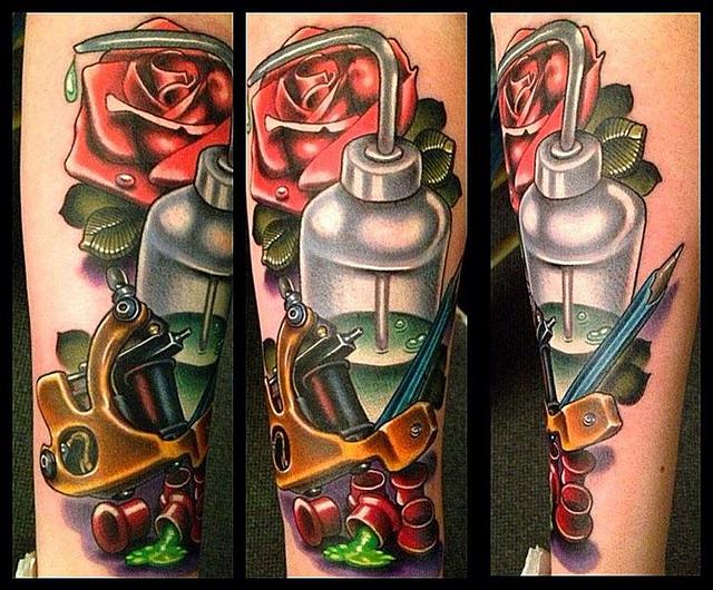 New school tattoo machine tattoo by black 13 tattoo for Zombie tattoo machine
