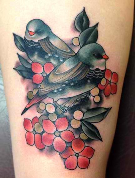 Realistic flower bird tattoo by black 13 tattoo for Realistic bird tattoo