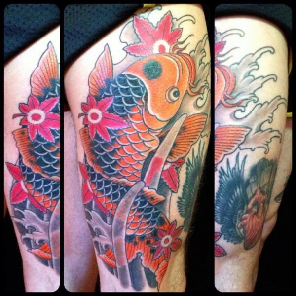Leg japanese carp koi tattoo by black cat tattoos for Japanese koi carp tattoos