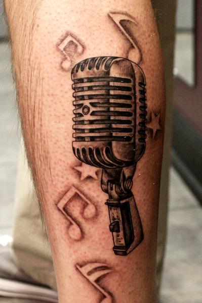Arm Realistic Microphone Tattoo By Bugaboo Tattoo