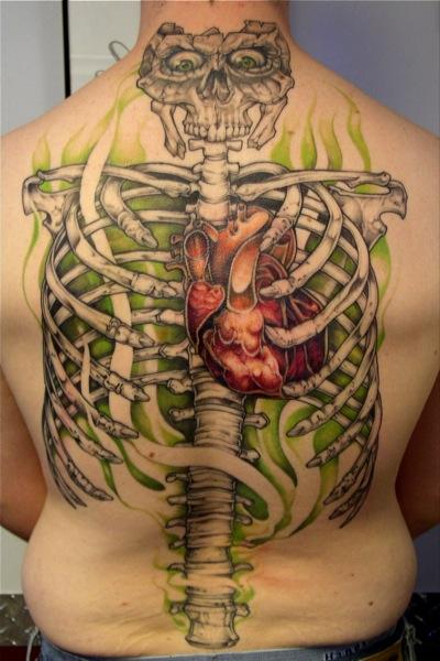 Back Skeleton Tattoo By Bugaboo Tattoo