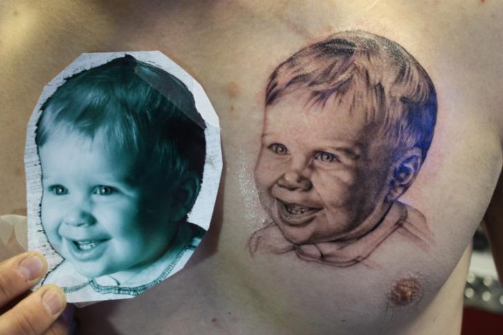 Portrait Realistic Chest Tattoo By Bugaboo Tattoo