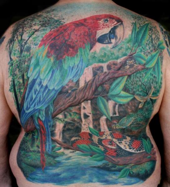 back landscape parrot tattoo by cartel ink works. Black Bedroom Furniture Sets. Home Design Ideas