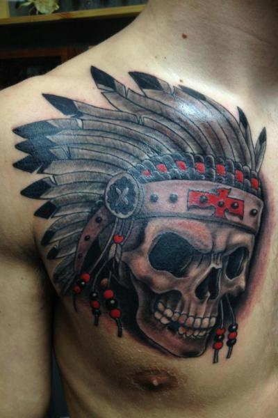 chest skull indian tattoo by fixed army. Black Bedroom Furniture Sets. Home Design Ideas