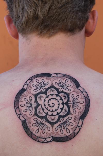 Back geometric tattoo by full circle tattoos for Full circle tattoo
