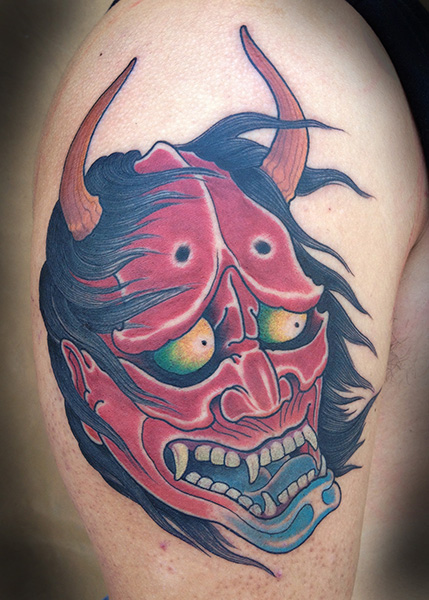 Shoulder Japanese Demon Tattoo by Full Circle Tattoos