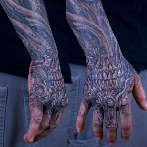 Biomechanical hand tattoo by graven image tattoo for Biomechanical hand tattoo designs