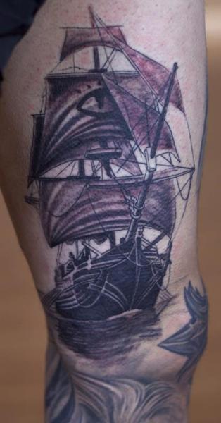 realistic leg galleon tattoo by graven image tattoo. Black Bedroom Furniture Sets. Home Design Ideas