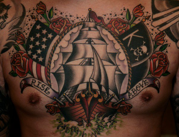chest old school galleon usa tattoo by guru tattoo. Black Bedroom Furniture Sets. Home Design Ideas