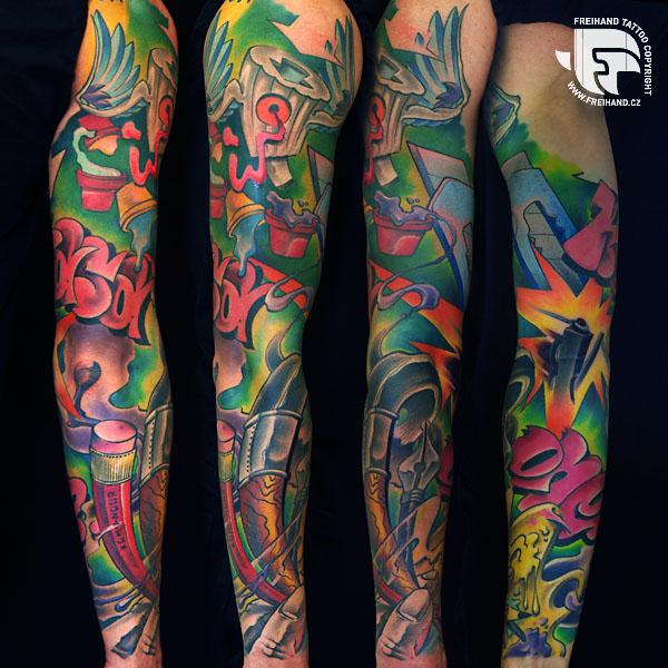 New School Pencil Sleeve Tattoo by FreiHand Tattoo