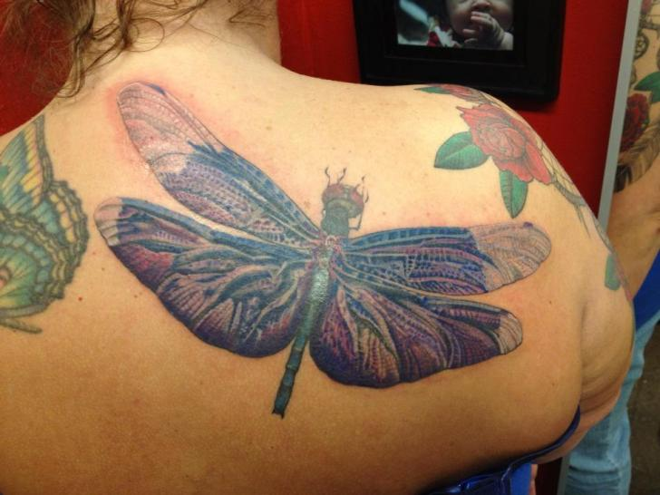 Realistic Back Dragonfly Tattoo by Hidden Hand Tattoo