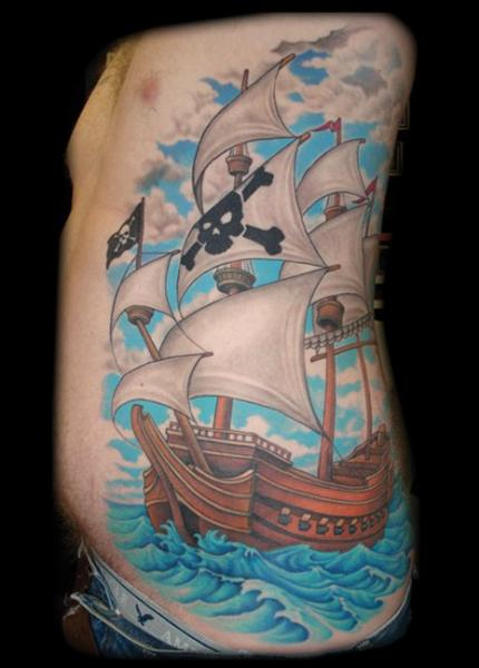 fantasy galleon tattoo by jon dredd. Black Bedroom Furniture Sets. Home Design Ideas