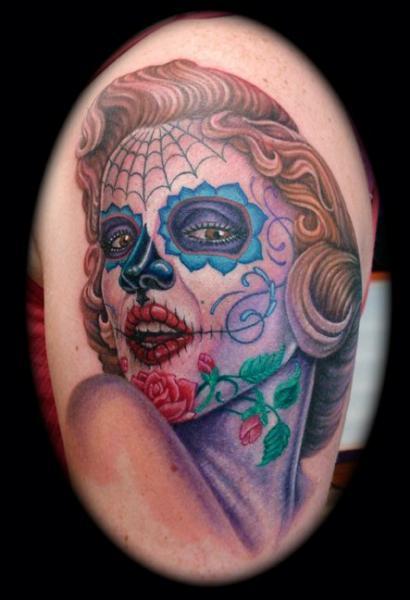 Mexikanischer Totenkopf Tattoo von Jon Dredd
