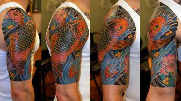 Tatuajes De Carpas Koi Tatuaje Negro De Carpa Koi En Brazo With