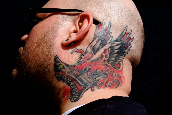 old school head neck wings shark tattoo by omaha tattoo. Black Bedroom Furniture Sets. Home Design Ideas
