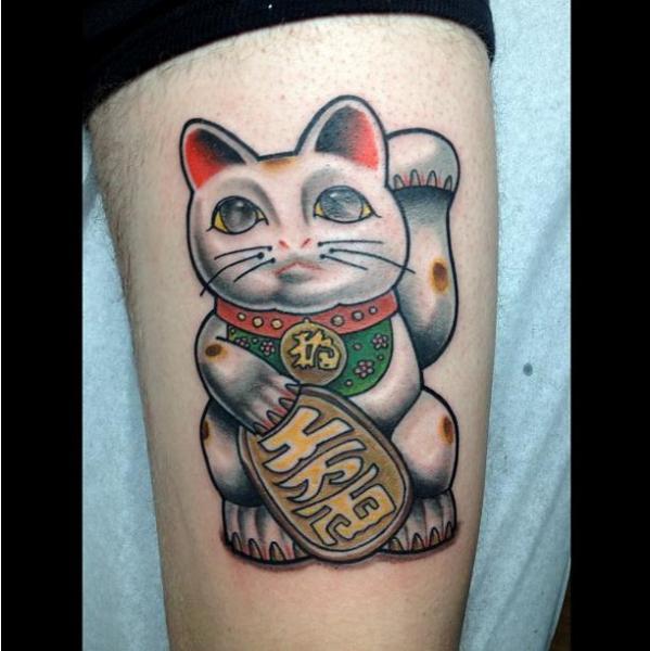 arm maneki neko cat tattoo by pino bros ink. Black Bedroom Furniture Sets. Home Design Ideas
