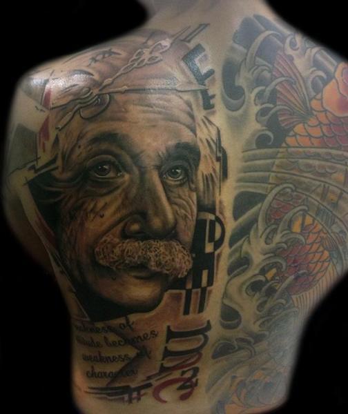 Realistic Back Einstein Tattoo By Club Tattoo