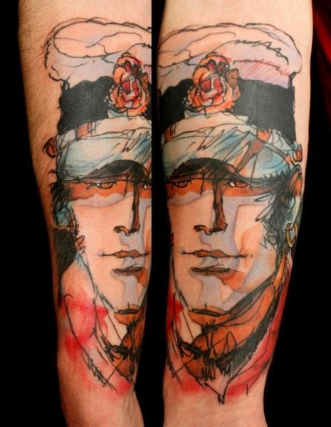 Tatuaggio Braccio Corto Maltese Fantasy di Dimitri Tattoo - tattoo-arm-fantasy-corto-maltese