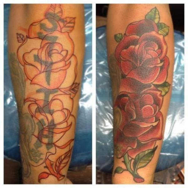 Arm realistic flower cover up tattoo by the blue rose tattoo for Tattoo sleeve cover up forearm