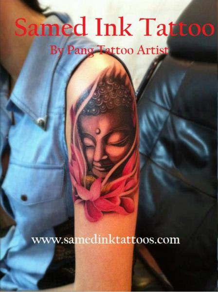 Shoulder Flower Buddha Tattoo By Samed Ink Tattoos