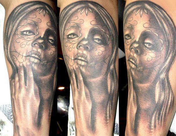 schulter mexikanischer totenkopf tattoo von andys tattoo. Black Bedroom Furniture Sets. Home Design Ideas