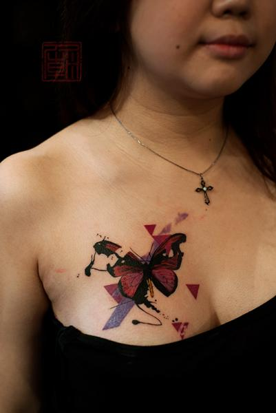 Butterfly breast tattoo by tattoo temple for Butterfly breast tattoos
