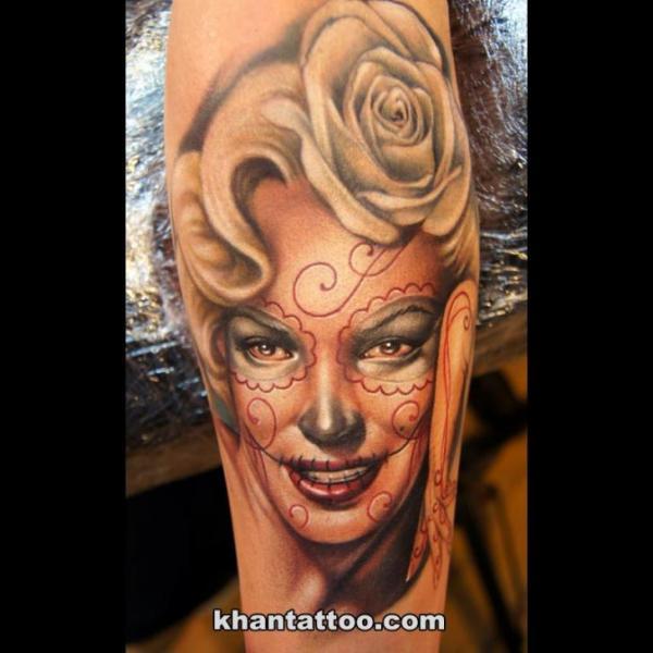Arm Mexican Skull Women Tattoo By Khan Tattoo