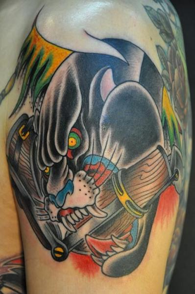 Shoulder old school panther tattoo by detroit diesel tattoo for Old school panther tattoo
