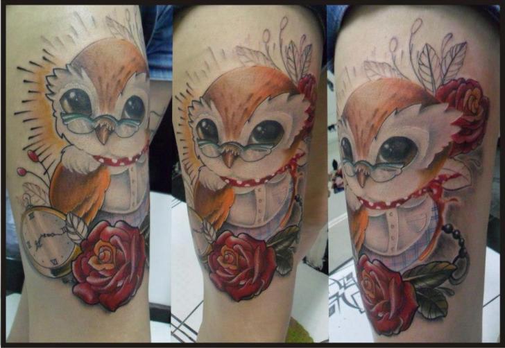 Fantasy Owl Thigh Tattoo By Hell Tattoo