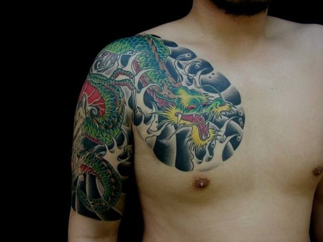 Arm chest japanese dragon tattoo by tattoo hm for Japanese style chest tattoos