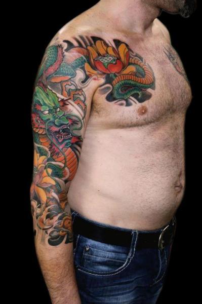 schulter brust japanische drachen tattoo von nico tattoo crew. Black Bedroom Furniture Sets. Home Design Ideas