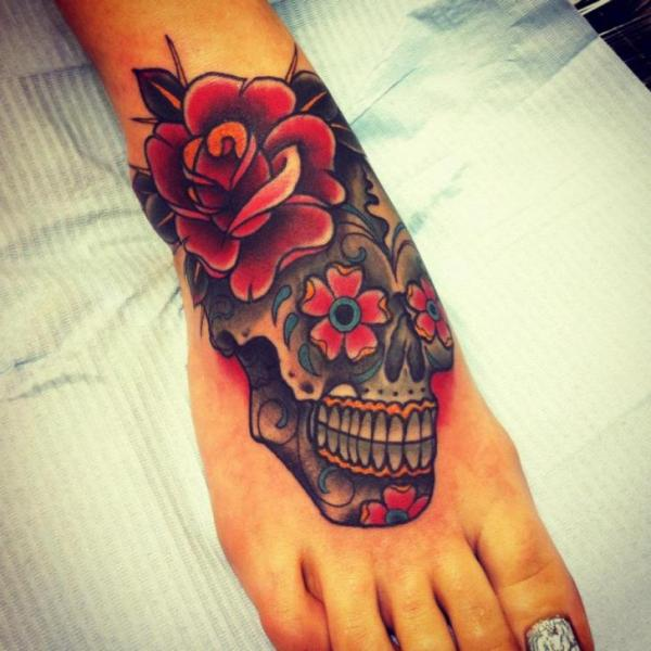 Flower Skull Foot Tattoo