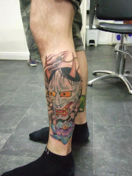 Calf Japanese Demon Tattoo by Tattoo Zoo Koi Tattoo Side