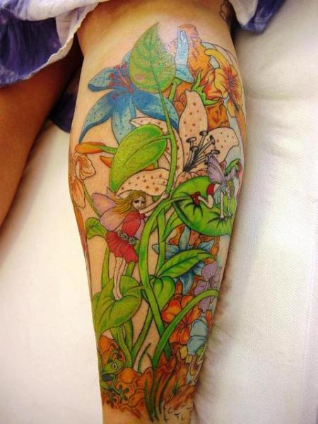 Fantasy Calf Tattoo By Abstract Tattoos