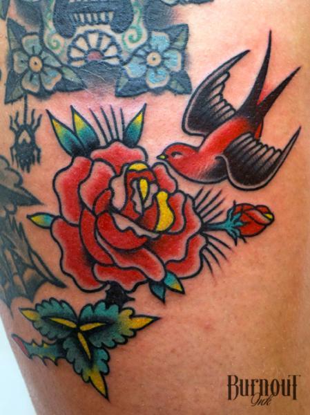 Swallow rose tattoos